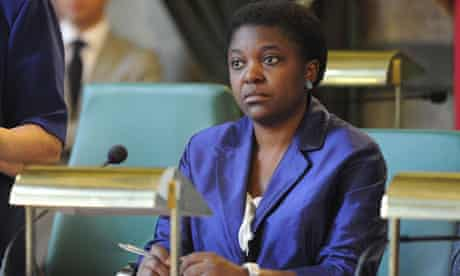 Cécile Kyenge listens during at a debate on immigration