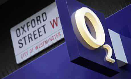 An O2 shop sign on Oxford Street