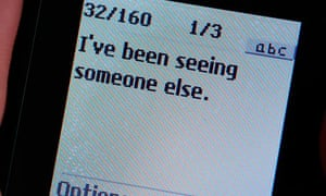 Text message on a mobile phone stating I've been seeing someone else.