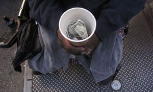 Homeless person receives donation