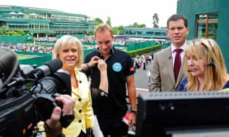 Pull your socks up, chaps … Sue Barker and Tim Henman presenting Wimbledon.