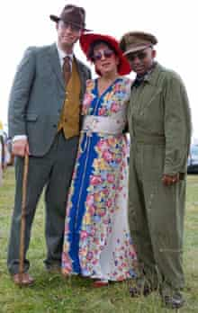 Two men and woman in 1940s clothes at the Festival of the Forties