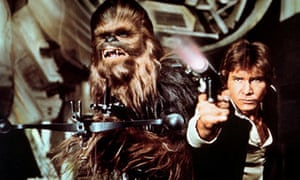 Star Wars: Chewbacca and Han Solo aiming weapons