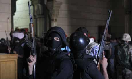 Police at the al-Fath mosque in Cairo