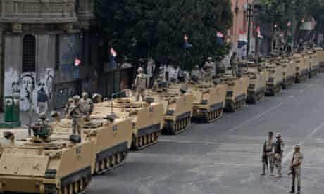 Soldiers at the entrance to Tahrir square, Cairo.
