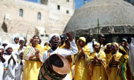 Easter celebrations outside the Ethiopian Orthodox church in Jerusalem