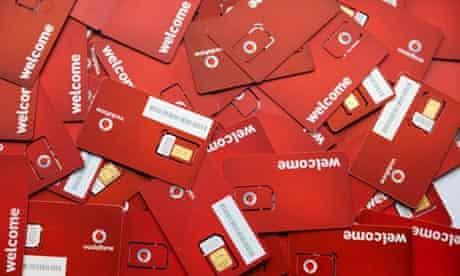 Pile of Vodafone SIM cards