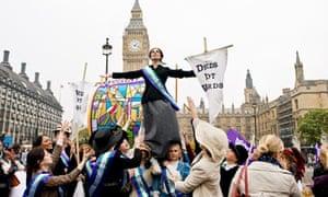 UK Feminista activists demonstrate outside UK parliament