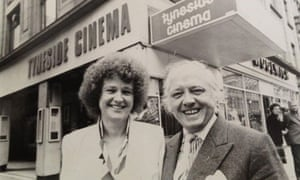 Sheila Whitaker and Richard Attenborough smiling outside Newcastle's Tyneside Cinema