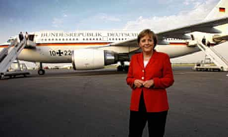 Angela Merkel in front of her plane.