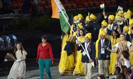 Madhura Nagendra with the Indian delegation during the opening ceremony of the London Olympics.