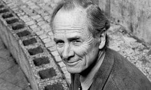 Fred Dretske, philosopher, sitting on a wall. B&W photo taken in 1996