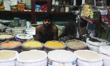 An Indian rice vendor in Kolkata.