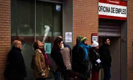 People queue outside Spanish job centre
