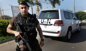 A Lebanese soldier watches as the UN experts arrive at Beirut international airport.