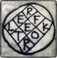 Reflektor logo graffiti Arcade Fire