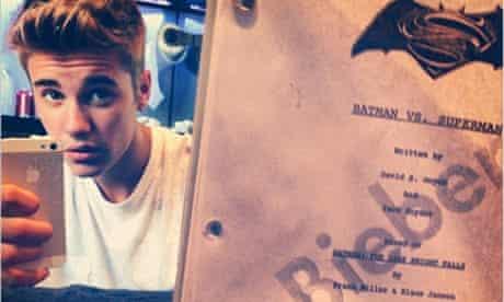 Justin Bieber Batman vs Superman instagram