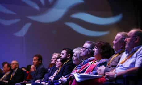 Delegates listen to speakers at the Lib Dem conference