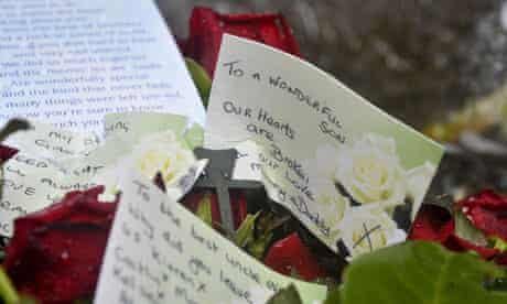 Floral tributes left near the Gleision colliery after the four miners died.