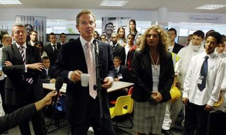 Tony Blair during a visit to Quintin Kynaston school