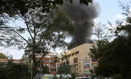 Smoke rises over Westgate shopping centre after an explosion in Nairobi