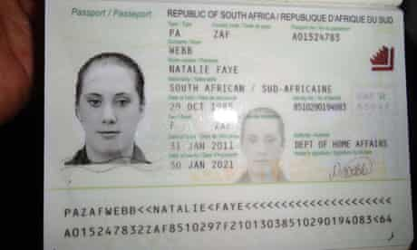 A photo of fake South African passport o