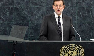 The prime minister of Spain, Mariano Rajoy, addresses the United Nations general assembly.