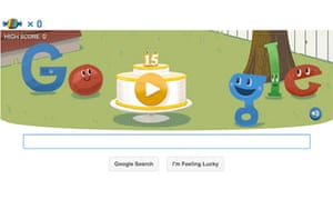 Google's doodle to celebrate its 15th birthday