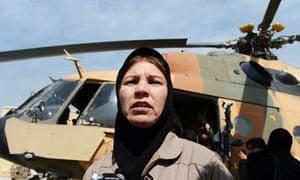Afghanistan's first female pilot, Latifa Nabizada ,40, at the Kabul international airport.