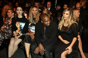 Noomie Rapace, Lily Collins, Kim Kardashian, Kanye West and Ciara attend the Givenchy show