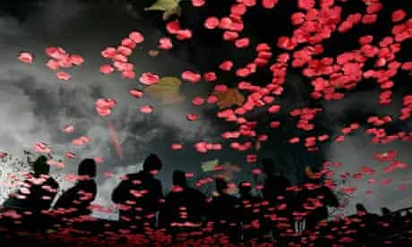 Poppies released in Swansea to commemorate armistice day