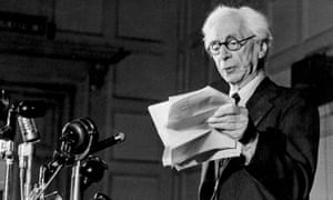 Bertrand Russell speaking at a 1955 Peace Meeting.