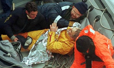British sailor Tony Bullimore being rescued in 1997