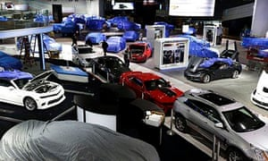 The General Motors display area is prepared for the Detroit motor show.