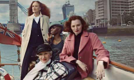 Karen Elson in the pink duster coat that proved so popular for M&S