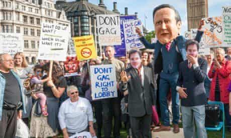 A rally in Parliament Square in London celebrating freedom of speech as the government debated its c