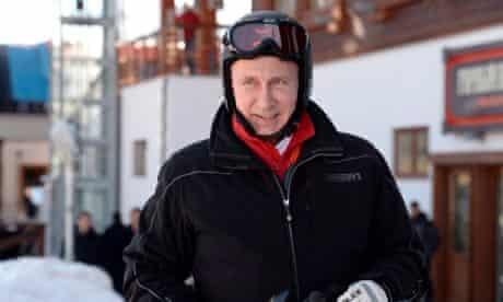 President Vladimir Putin prepares to ski in Krasnaya Polyana, near Sochi.