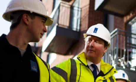 David Cameron on the site of a new housing development in Southampton