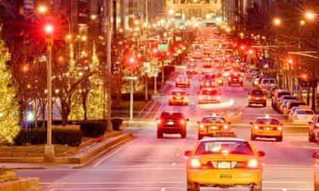 New York City. Park Avenue at dusk with traffic