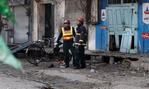 The site of the suicide bombing in Rawalpindi, Pakistan