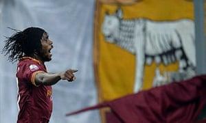 Roma's Gervinho celebrates after scoring against Juventus