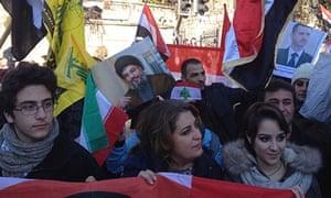 Pro-Assad demonstrators in Montreux