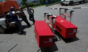 Coffins of Nepalese migrant workers