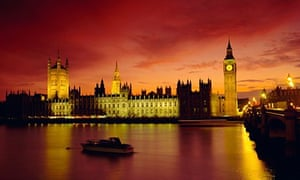 The River Thames and Houses of Parliament at night, London, England, UK