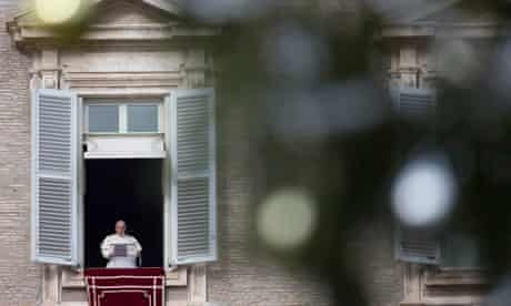 Pope Francis gives his Sunday blessing at the Vatican.