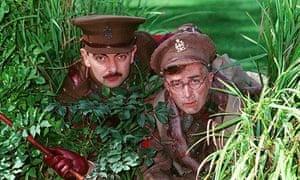 Rowan Atkinson as Blackadder and Tony Robinson as Baldrick in Blackadder Goes Forth, 1989.
