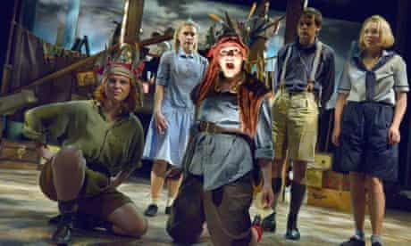 Swallows and Amazons: members of cast on stage at the Theatre by the Lake, Keswick