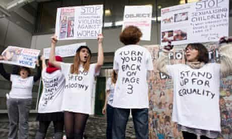 Anti Page 3 protestors outside the Sun's office.