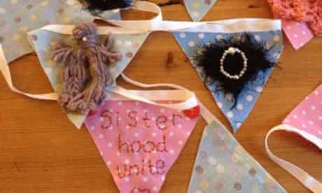 Vulva bunting for an anti-FGM event.