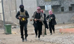 Isis fighters in Falluja